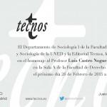 Invitación al Homenaje a Luis Castro Nogueira en la UNED