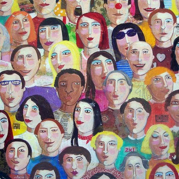 """""""Gente"""". Lienzo de María Burgaz"""